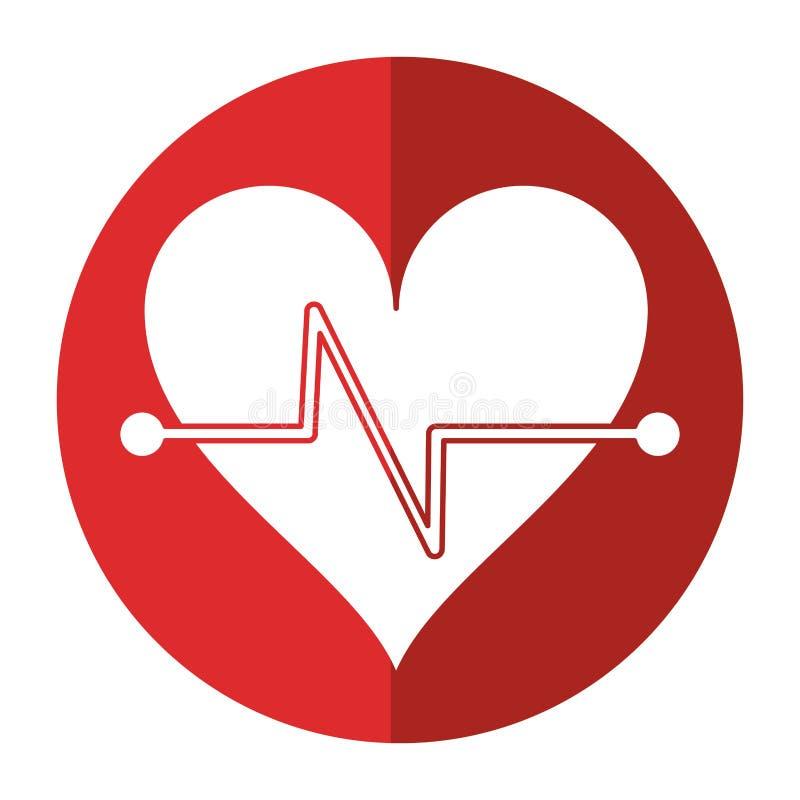 Herzschlag-Eignungssymbolschatten stock abbildung