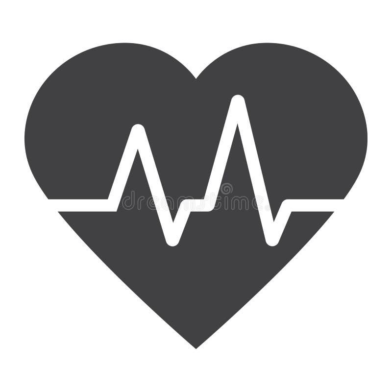 Herzschlag Glyphikone, -medizin und -gesundheitswesen vektor abbildung