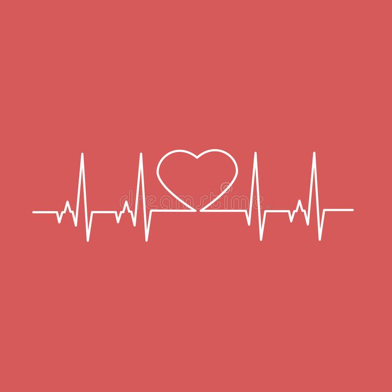 Herzschlag-Herz Herz-Linie Auch im corel abgehobenen Betrag stockbild