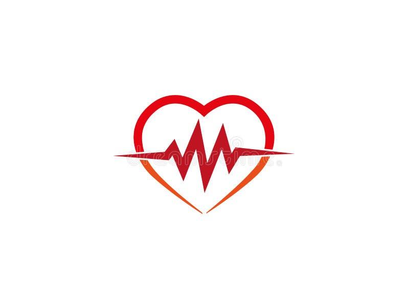 Herzschlag innerhalb des Herzens die Kardiologie für Logo vektor abbildung