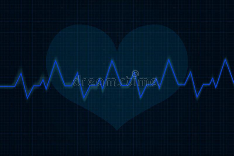 herzschlag Kardiogrammdiagramm Blaue Linie auf Anzeige lizenzfreie abbildung