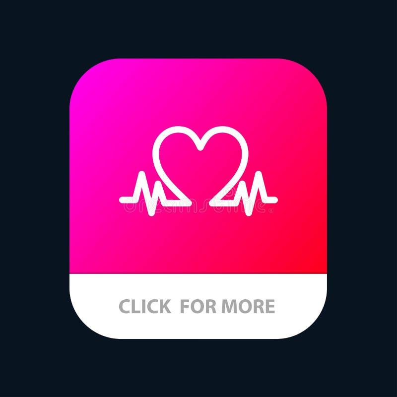 Herzschlag, Liebe, Herz, Hochzeit mobiler App-Knopf Android und IOS-Glyph-Version lizenzfreie abbildung