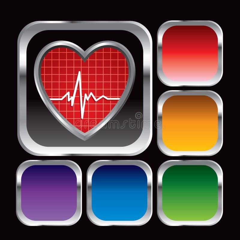 Herzschlagikone auf mehrfarbigen quadratischen Web-Tasten vektor abbildung