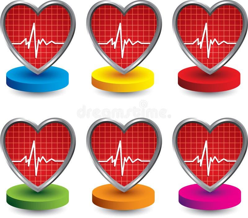 Herzschlagikonen auf farbigen Platten vektor abbildung