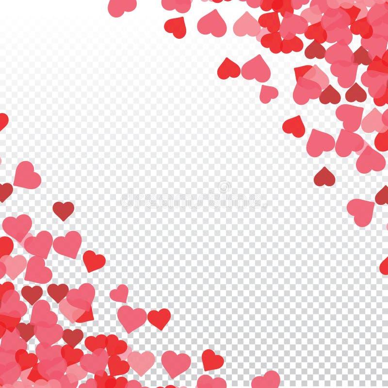 Herzvalentinsgrußhintergrund auf transparentem Vektor Herz formt Muster der Frauen Tagesmit Raum für Text oder Bild lizenzfreie abbildung