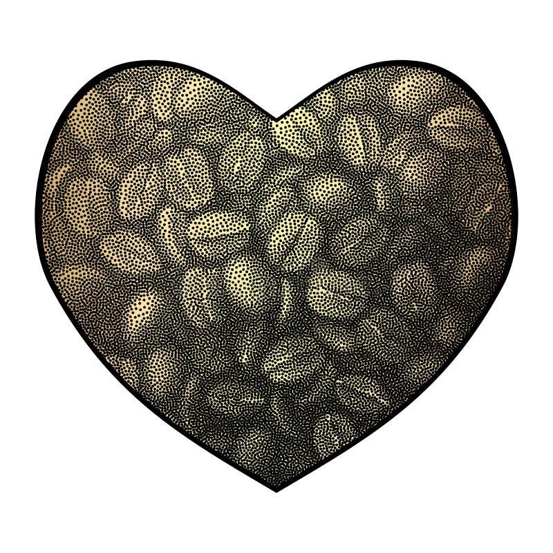 Herzvektorhintergrund Abstrakte Kaffeebohne-Liebesillustration vektor abbildung