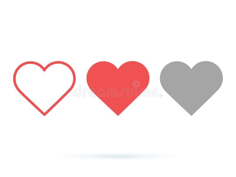 Herzvektorsammlung Liebessymbol-Ikonensatz Wie die Knöpfe aktiv und getan Gestaltungselemente UI Ux für Websiteentwurf lizenzfreie abbildung