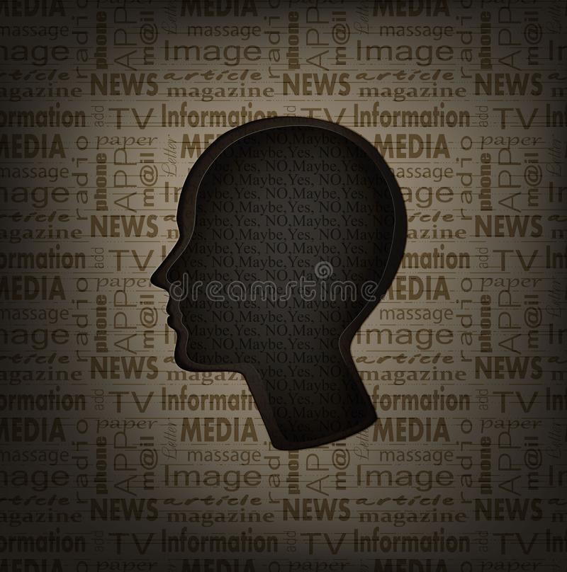 Hesitation concept, man profile with text inside and text pattern outside, mass media and human mind concept, stock illustration