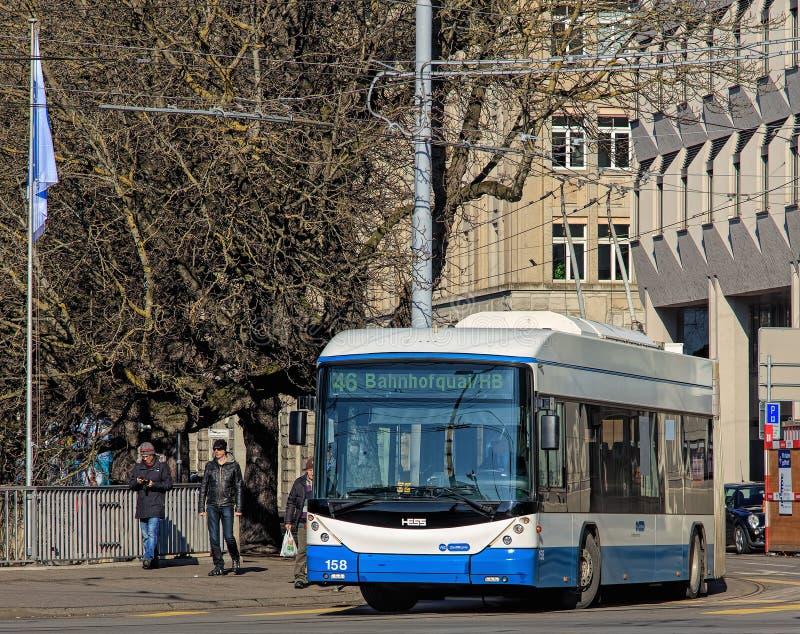 Hess trådbuss i Zurich, Schweiz arkivbild