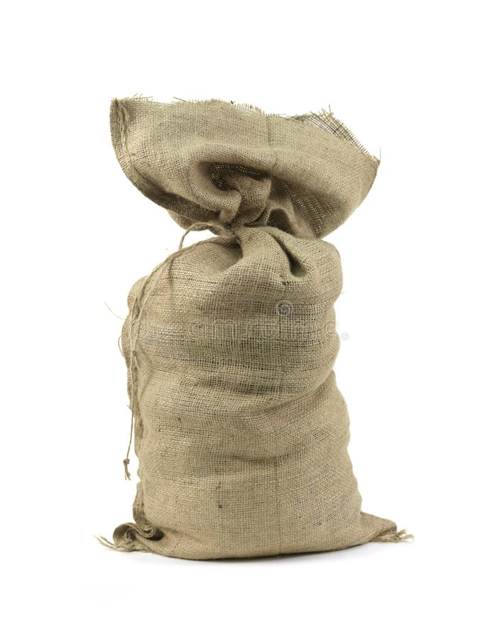 Hessian Bag. A hessian bag isolated against a white background royalty free stock photography