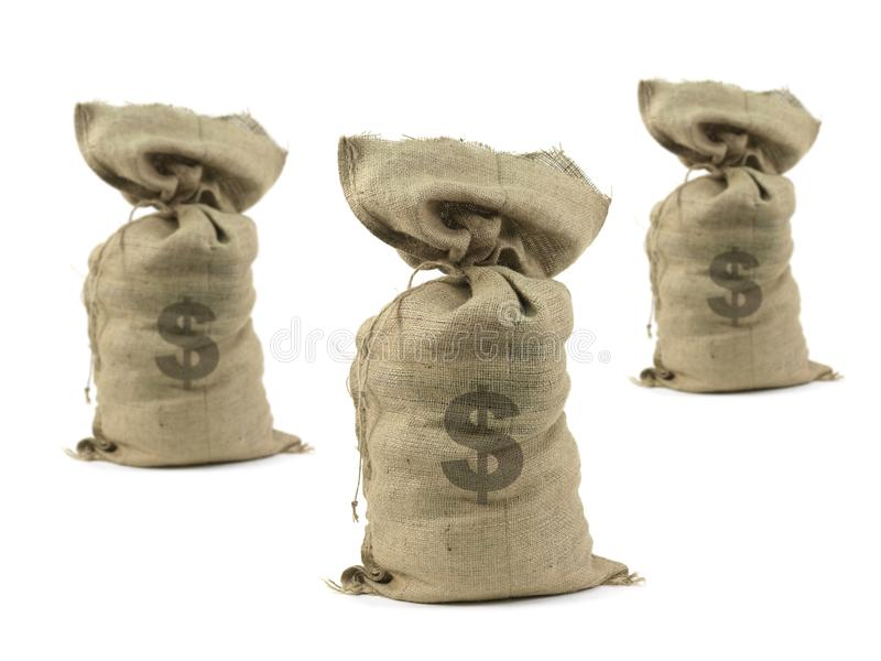 Hessian Bag. S with cash isolated against a white background royalty free stock photography