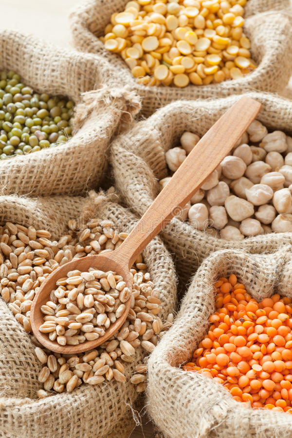Hessian bags with grains. Hessian bags with wheat, peas, chick peas, red lentils and green mung, wooden spoon stock photos