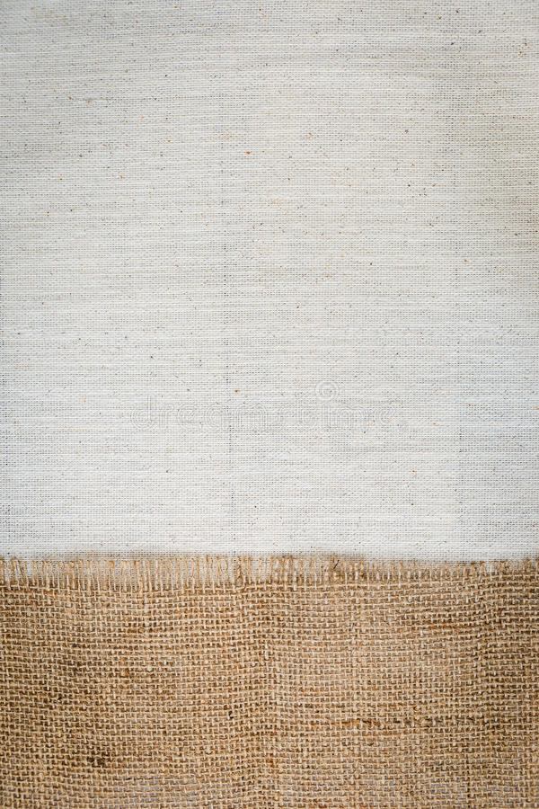 Hessian fabric texture over canvas texture background. Vertical style royalty free stock images