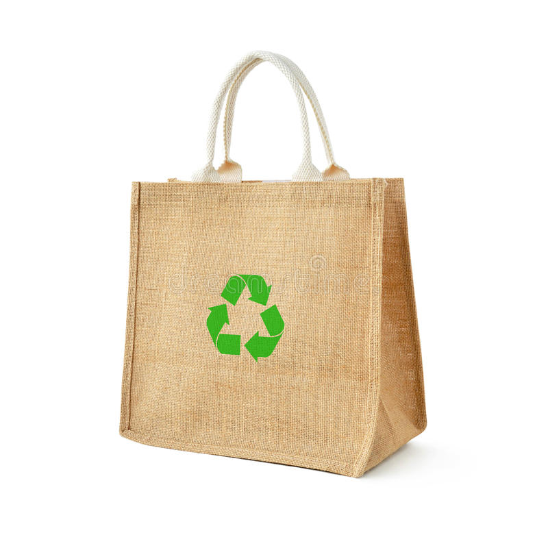 Hessian or jute shopping bag with recycle sign. Hessian or jute shopping bag with recycle or reusable sign stock images