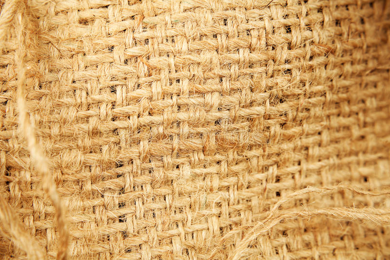 Hessian sacking. Closeup of natural burlap hessian sacking stock photo