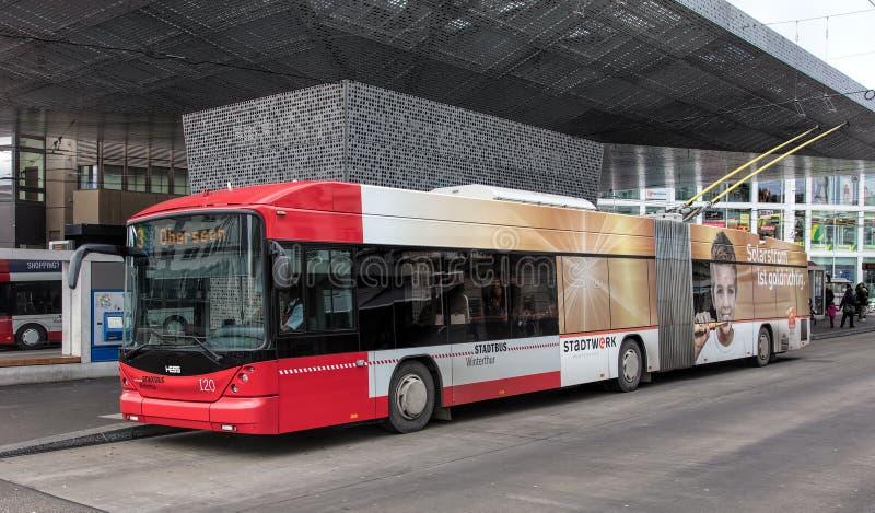 Hesstrolleybus in Winterthur, Zwitserland royalty-vrije stock foto
