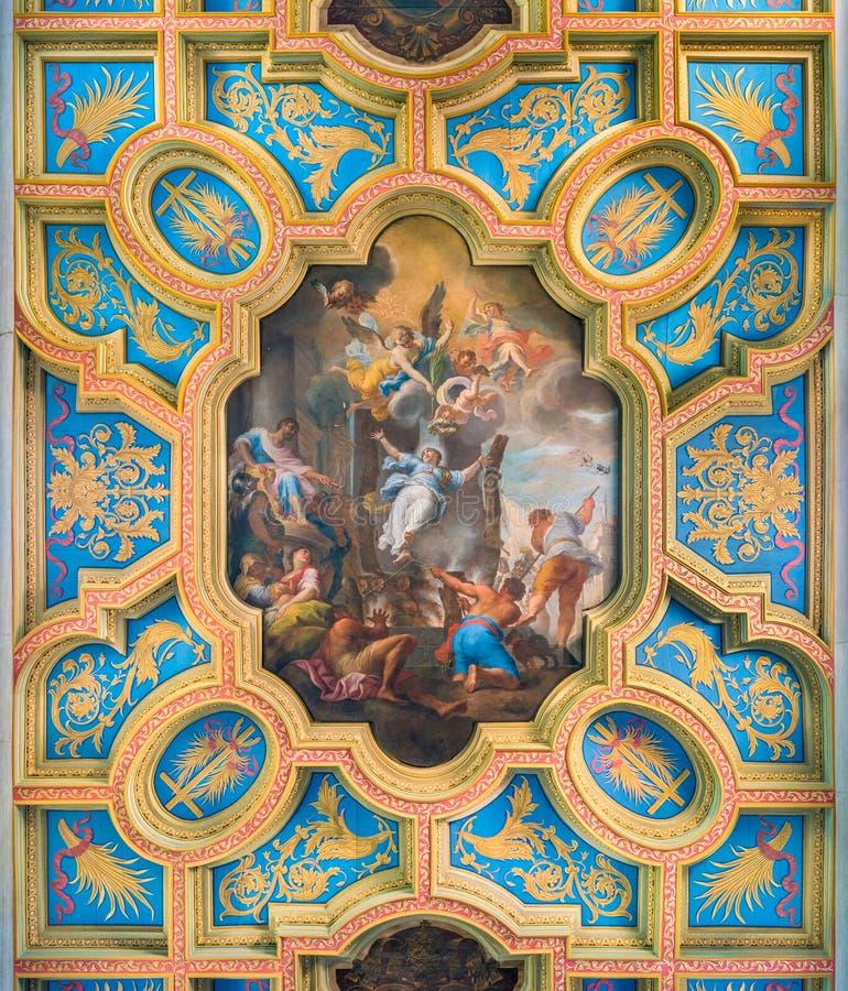 Het 'Martelaarschap van Heilige Anastasia 'door Michelangelo Cerruti in de Basiliek van Sant 'Anastasia dichtbij Palatine in Rome stock fotografie