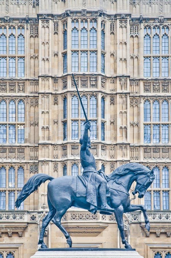 Het 1st standbeeld van Richard in Londen, Engeland royalty-vrije stock afbeeldingen
