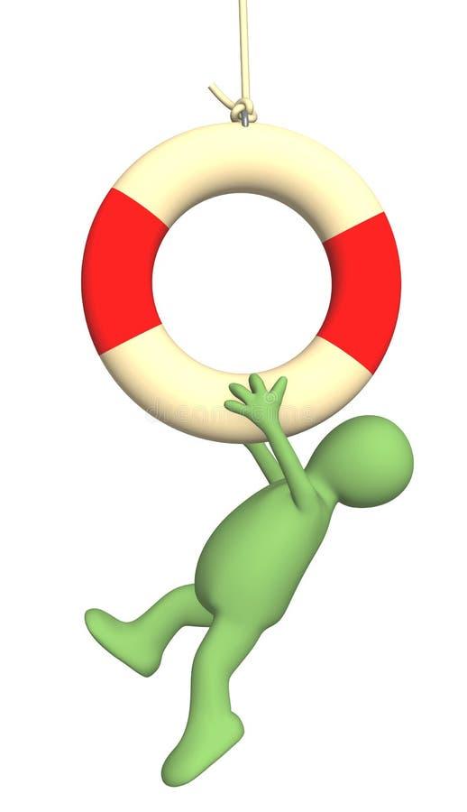 het 3d marionet hangen op een reddingsboeiring stock illustratie