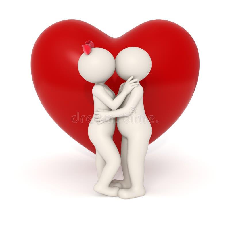 het 3d minnaars kussen vector illustratie