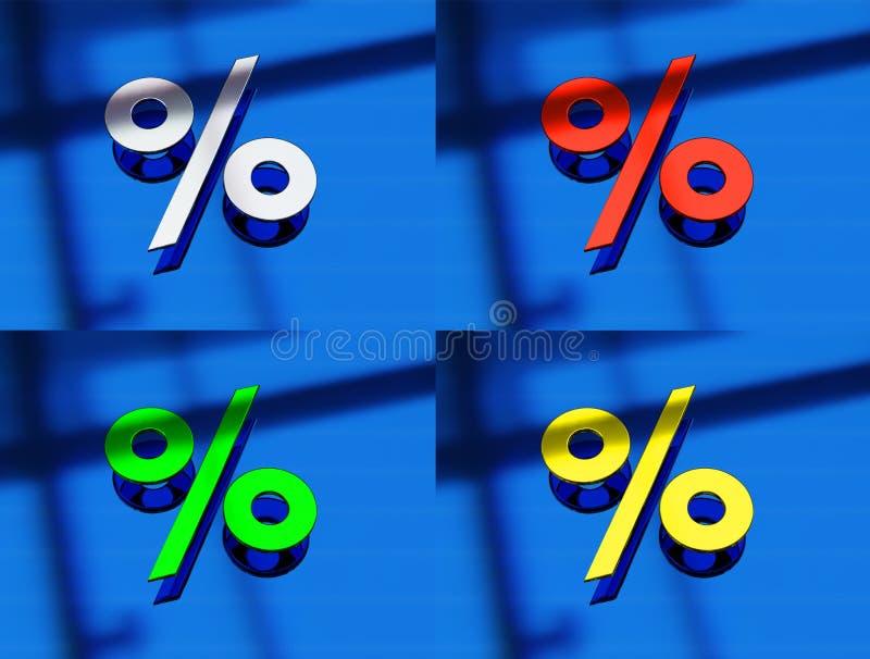 het 3d teruggeven van een percentageteken in metaal op bl vector illustratie