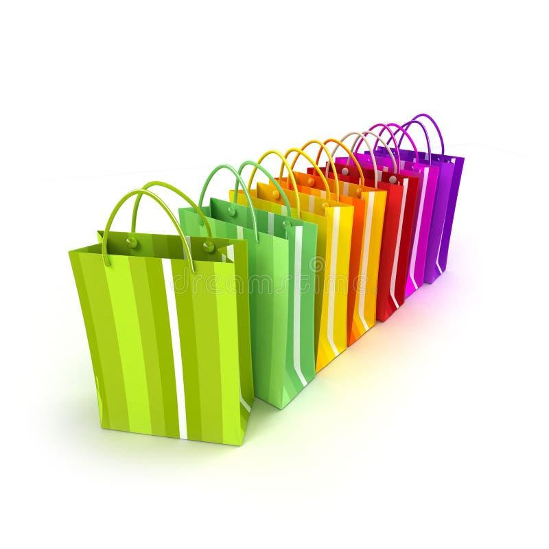 het 3D teruggeven van een rij van kleurrijke het winkelen zakken royalty-vrije illustratie