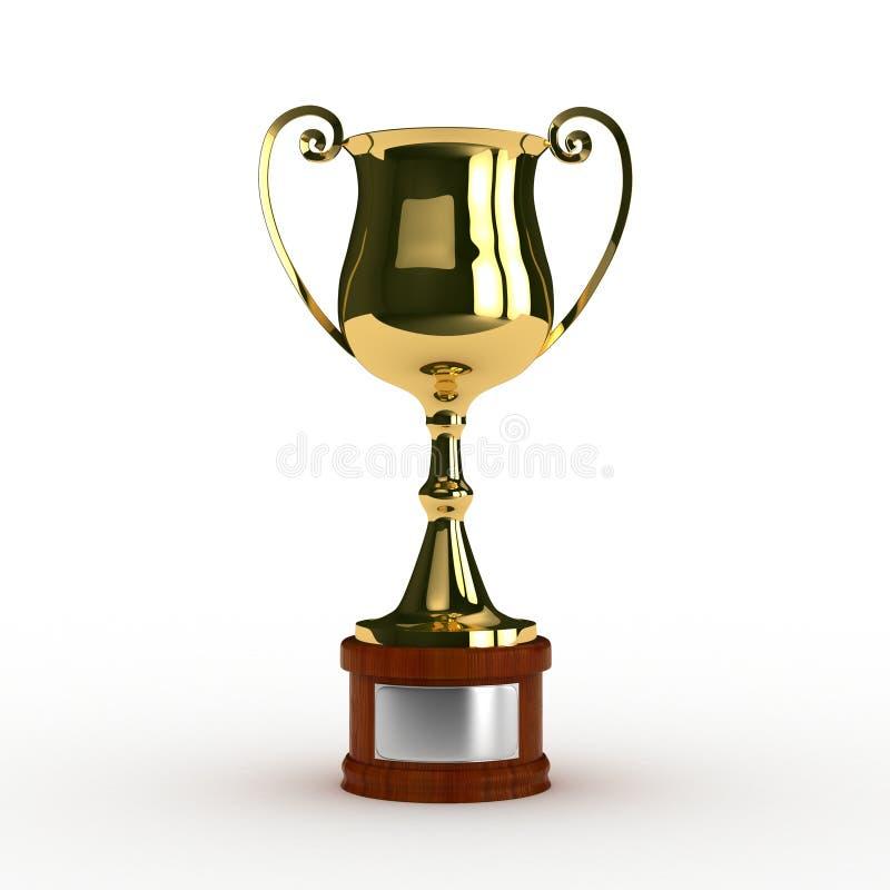 het 3d teruggeven van klassieke trofee in goud stock afbeeldingen