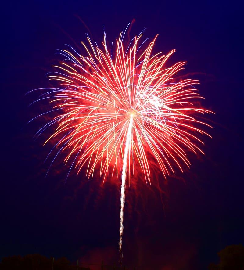 Het 4 vuurwerk van Juli stock foto's
