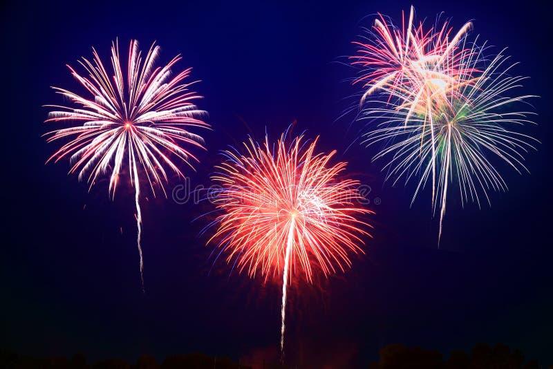 Het 4 vuurwerk van Juli stock afbeelding