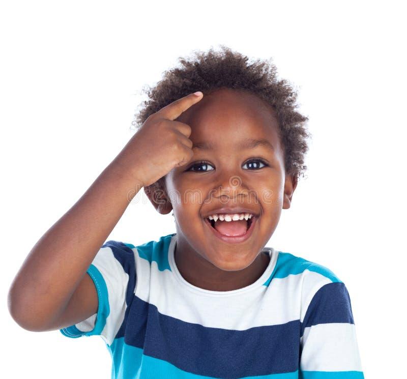 Het aanbiddelijke Afro-Amerikaanse kind denken stock foto's