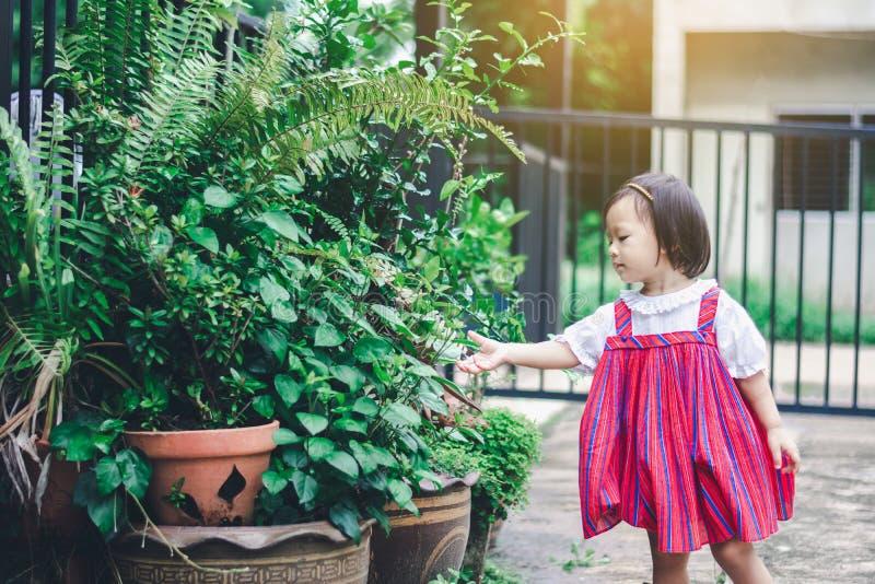Het aanbiddelijke Aziatische Meisje geniet thuis van tuin royalty-vrije stock foto