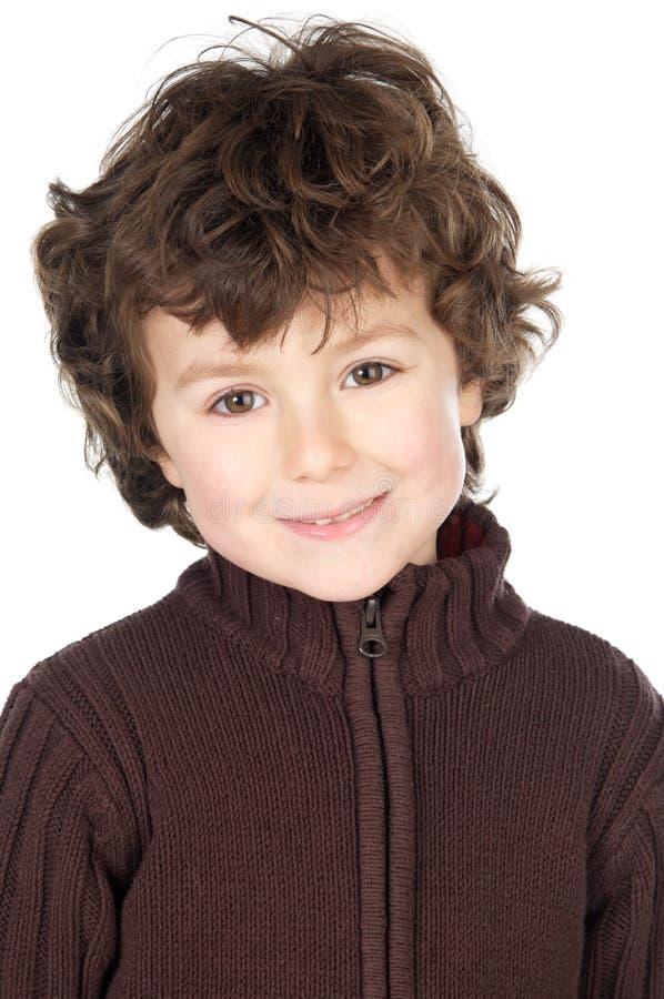 Het aanbiddelijke gelukkige jongen glimlachen stock afbeelding