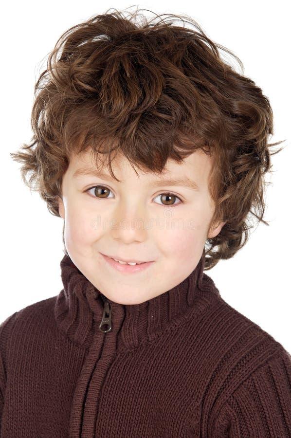 Het aanbiddelijke gelukkige jongen glimlachen stock foto