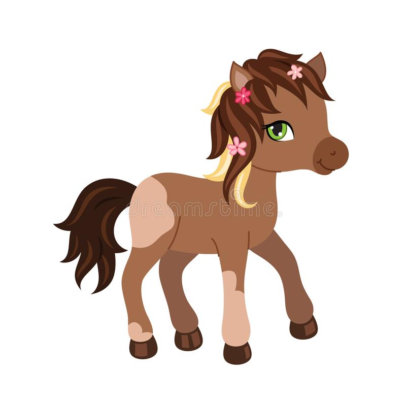Het aanbiddelijke karakter van het beeldverhaalpaard stock illustratie