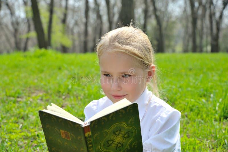 Download Het Aanbiddelijke Leuke Boek Van De Meisjelezing Buiten Stock Foto - Afbeelding bestaande uit buiten, boek: 54085236