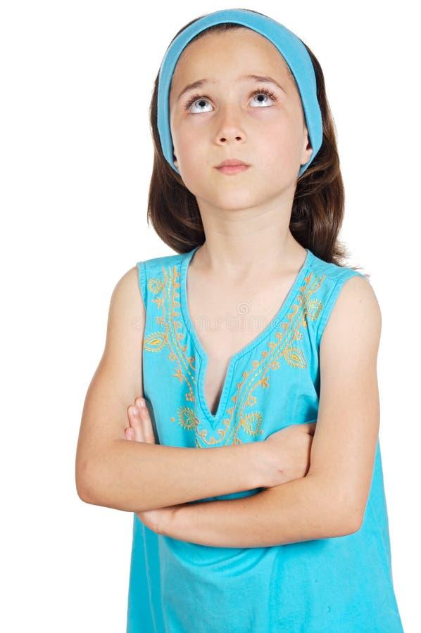 Het aanbiddelijke meisje denken royalty-vrije stock foto's