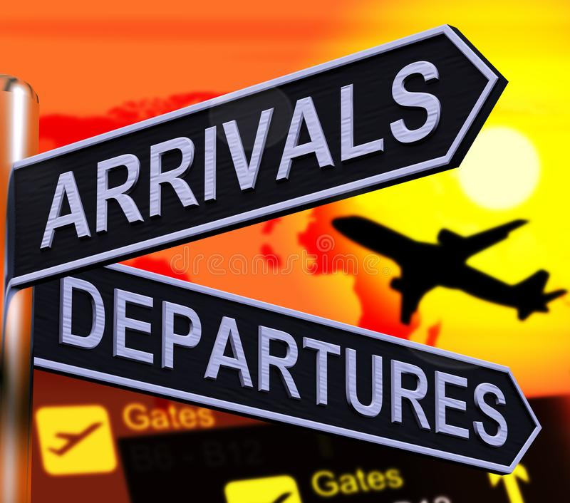 Het aankomstvertrek voorziet het Tonen van Vluchtenluchthaven 3d Illustra van wegwijzers royalty-vrije illustratie