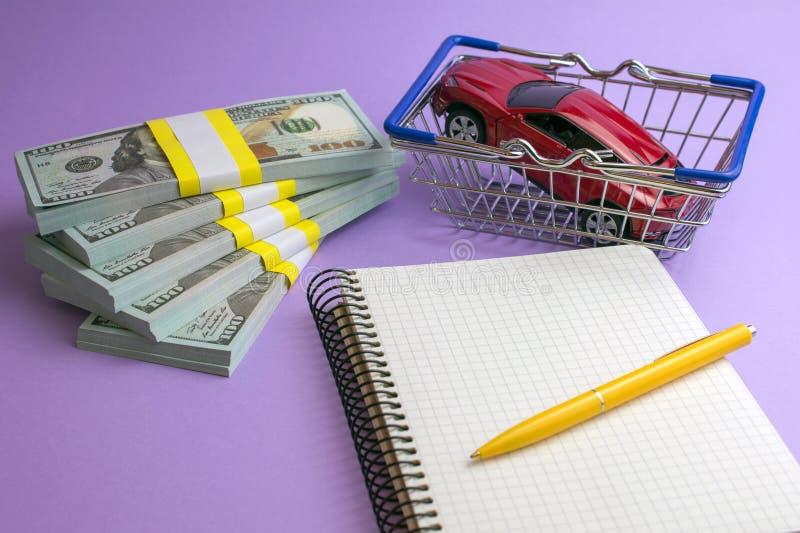 Het aankoop autohandel drijven en huurauto stock afbeeldingen