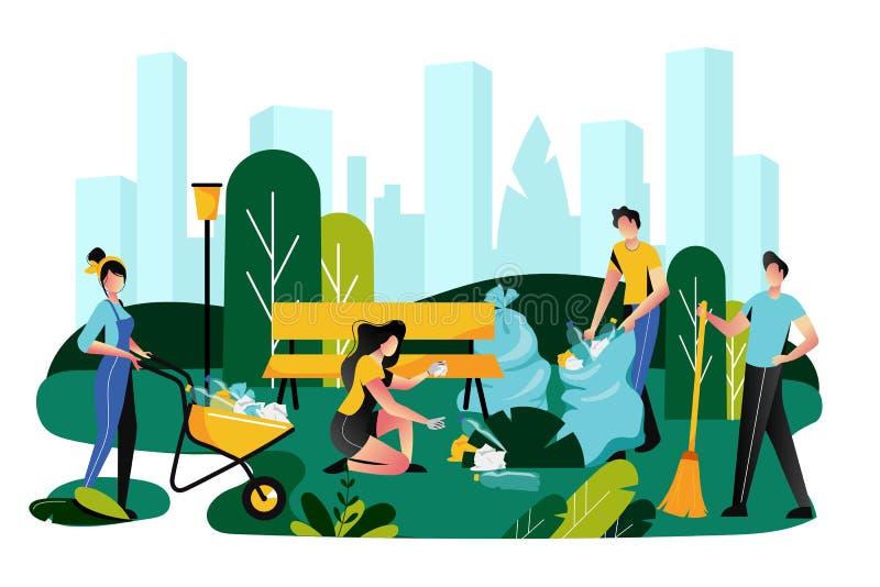 Het aanmelden zich, liefdadigheids sociaal concept Vrijwilligersteam schoonmakend huisvuil op gazon van stadspark, vectorillustra royalty-vrije illustratie