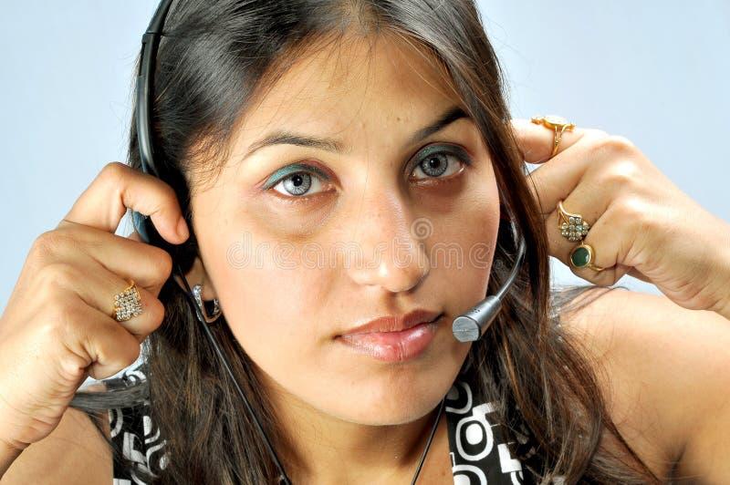 Het aanpassen hoofdtelefoons stock afbeelding