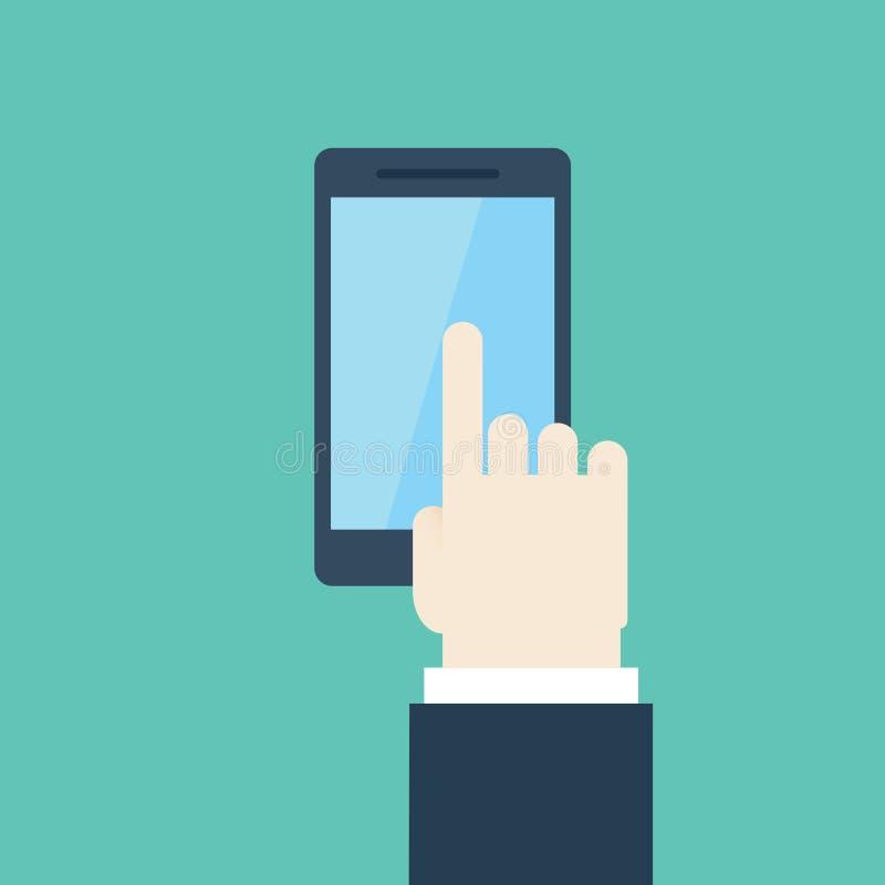 Het aanrakingsscherm op mobiel stock afbeeldingen