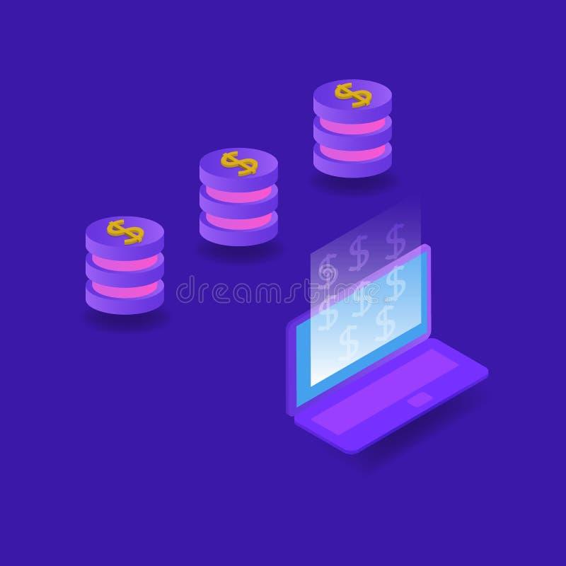 Het aansluiten van een computer aan het netwerk en het maken van geld vector illustratie