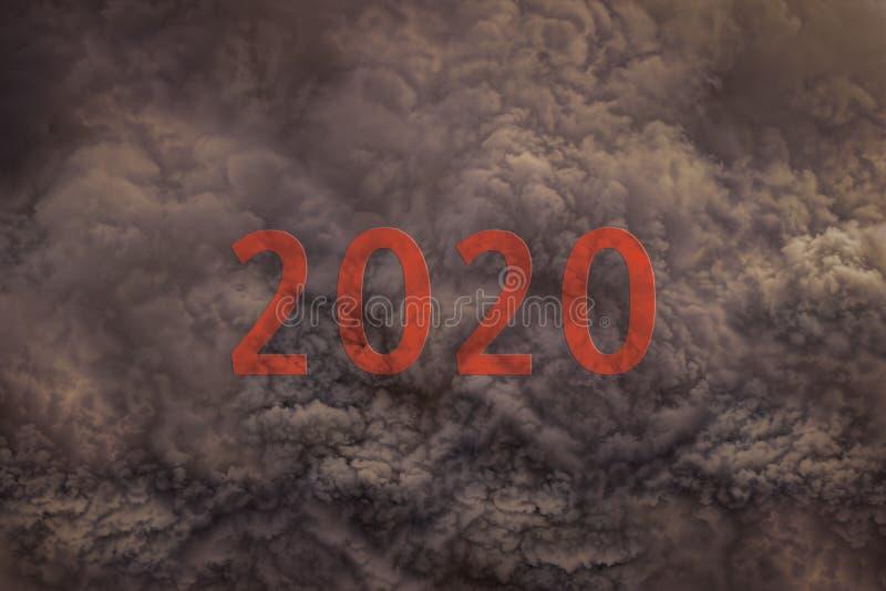 Het aanstaande nieuwe jaar van 2020 naar het gevaarlijke onweer royalty-vrije stock foto's