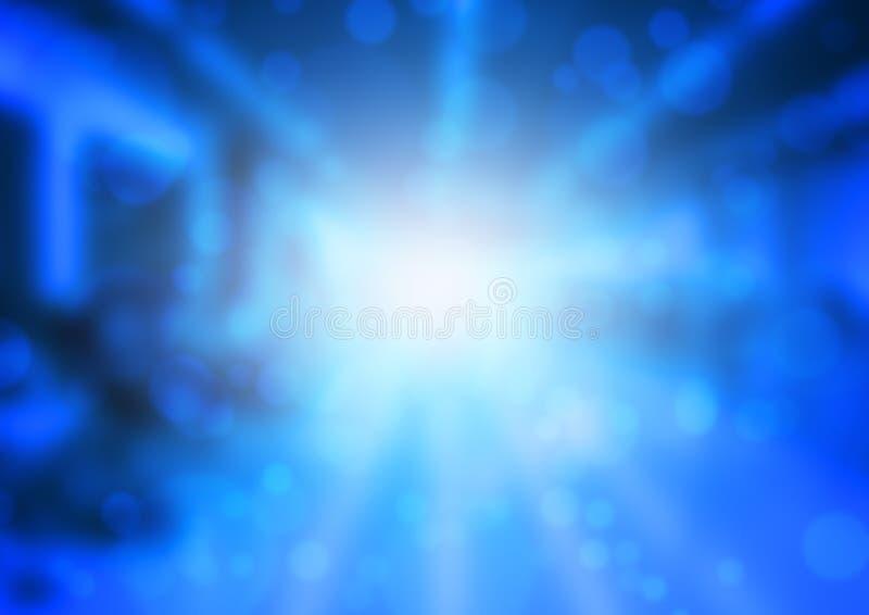 Het aansteken en bokeh op kleuren blauwe achtergrond stock illustratie