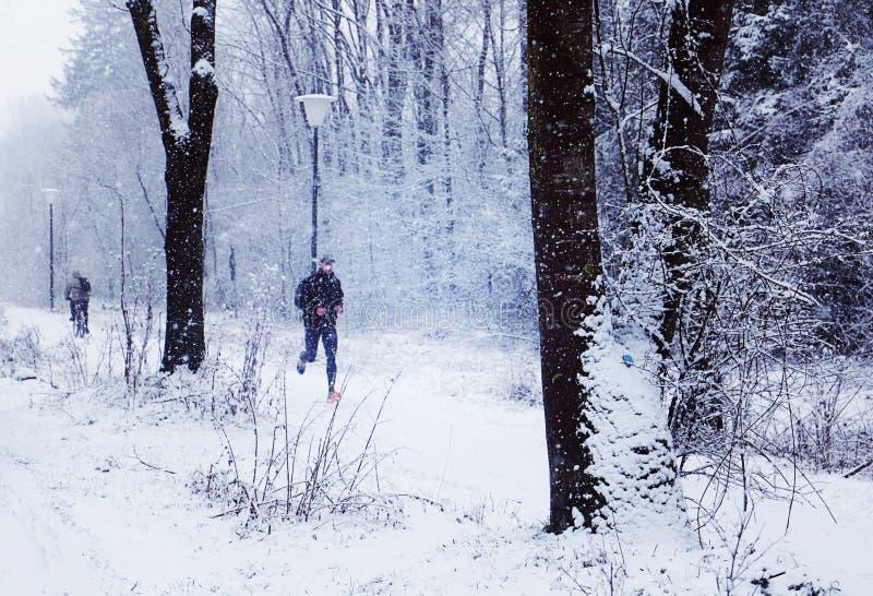 Het aanstoten onder een sneeuwonweer in de winter stock foto