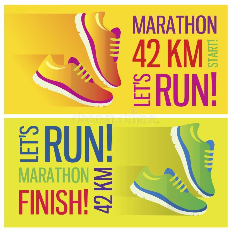 Het aanstotende en lopende vlakke pictogram van het marathonconcept vector illustratie