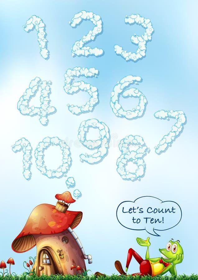 Het aantal van de wolkendoopvont op hemel vector illustratie