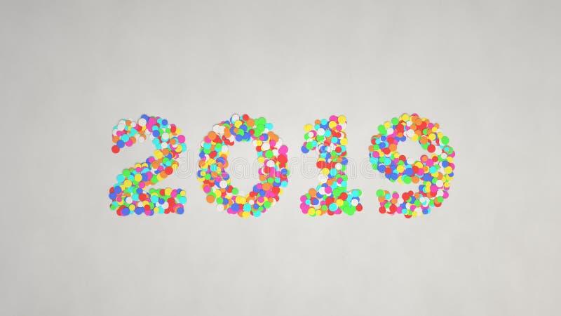 het aantal van 2019 van kleurrijke confettien wordt gemaakt die royalty-vrije stock afbeeldingen