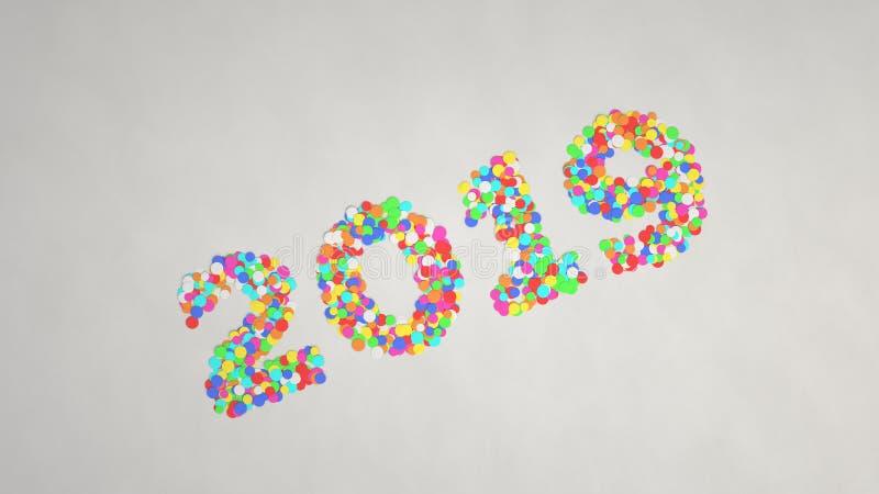 het aantal van 2019 van kleurrijke confettien wordt gemaakt die stock afbeeldingen