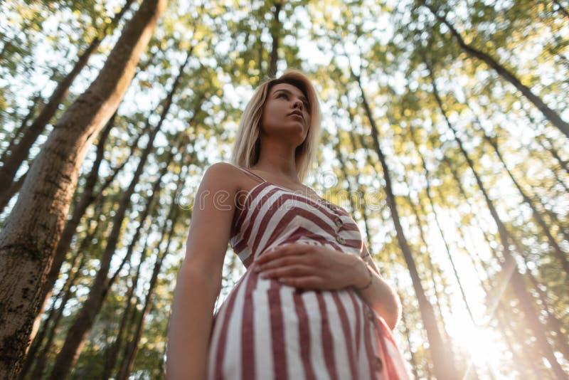Het aantrekkelijke jonge vrouwenblonde in de zomer modieuze gestreepte sundress rust in het hout op de achtergrond van helder zon stock afbeelding
